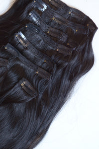 Onyx Clip-In Hair Extensions-20 inches / 200 gram full head set of 100% Remy clip-in human hair extensions