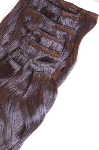 Dark Mocha Clip-In Hair Extensions-20 inches / 200 gram full head set of 100% Remy clip-in human hair extensions