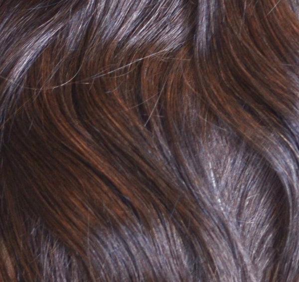 Rooted Remy Tape-In Hair Extension Color #2 Dark Brown into #60 Pale Ash Blonde