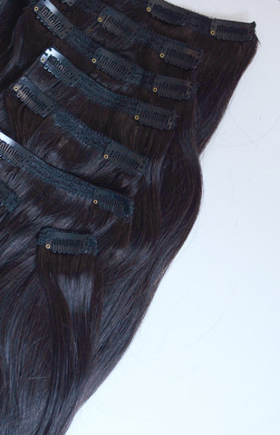 Soft Obsidian Clip-In Hair Extensions- 20 inches / 200 gram full head set of 100% Remy clip-in human hair extensions
