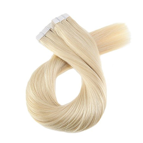 ProLuxe Remy Collection: Tape-In Extensions Color Lightest Blonde #613 16 inches in length