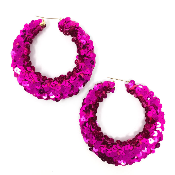 Magenta Sequin Hoops