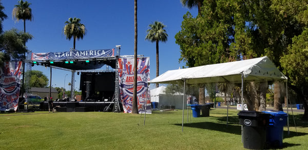 Stage America with misting tent by PortaMist