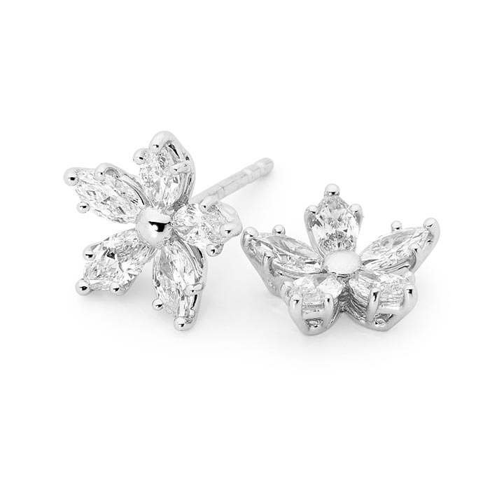18ct White Gold Diamond Floral Earrings
