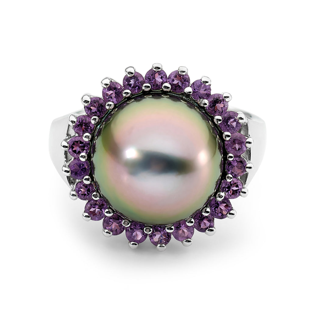 18ct White Gold, Amethyst and Tahitian Pearl Ring