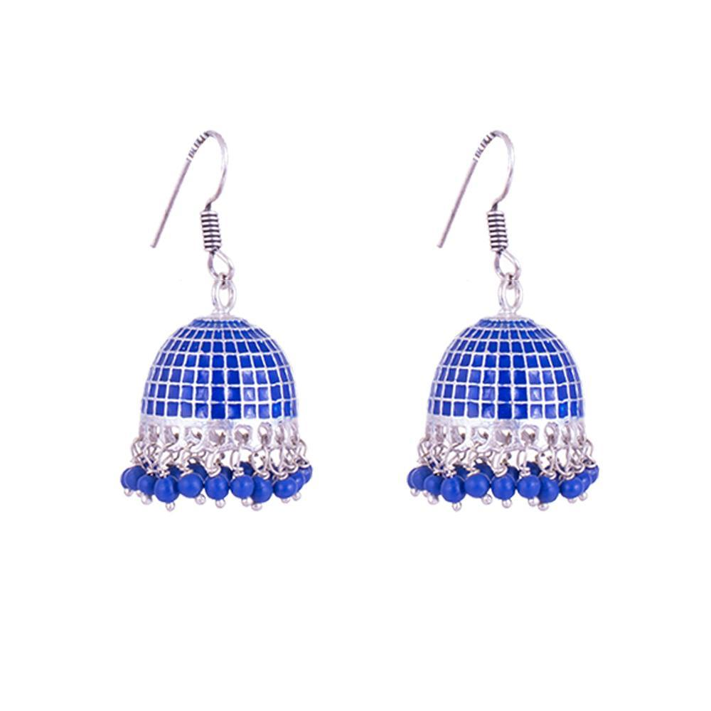 Blue patterned jhumkas