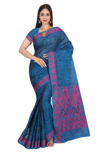 Coimbatore Cotton Saree Blue and Pink with Floral border