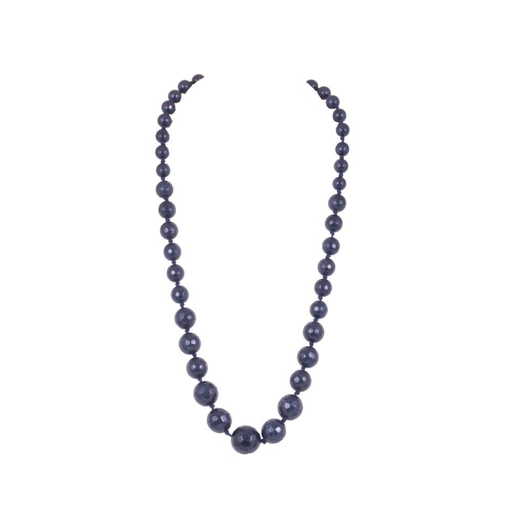 Glass beaded contemporary blue necklace