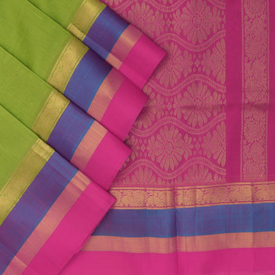 Kuppadam Silk Cotton Saree - Green and Pink with annapakshi zari silk border