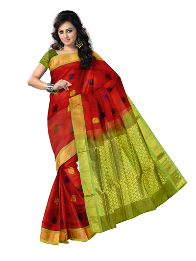 Silk Cotton Saree - Red Shade and Mehandi Green with thread butta and Simple zari border