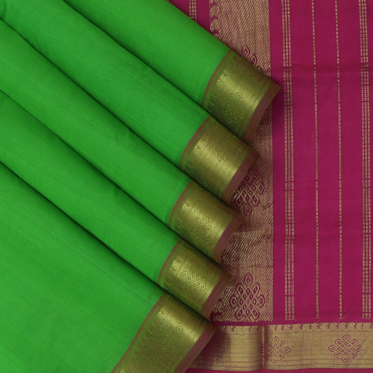 Silk Cotton Saree-Light Green and Pink with Mango zari border
