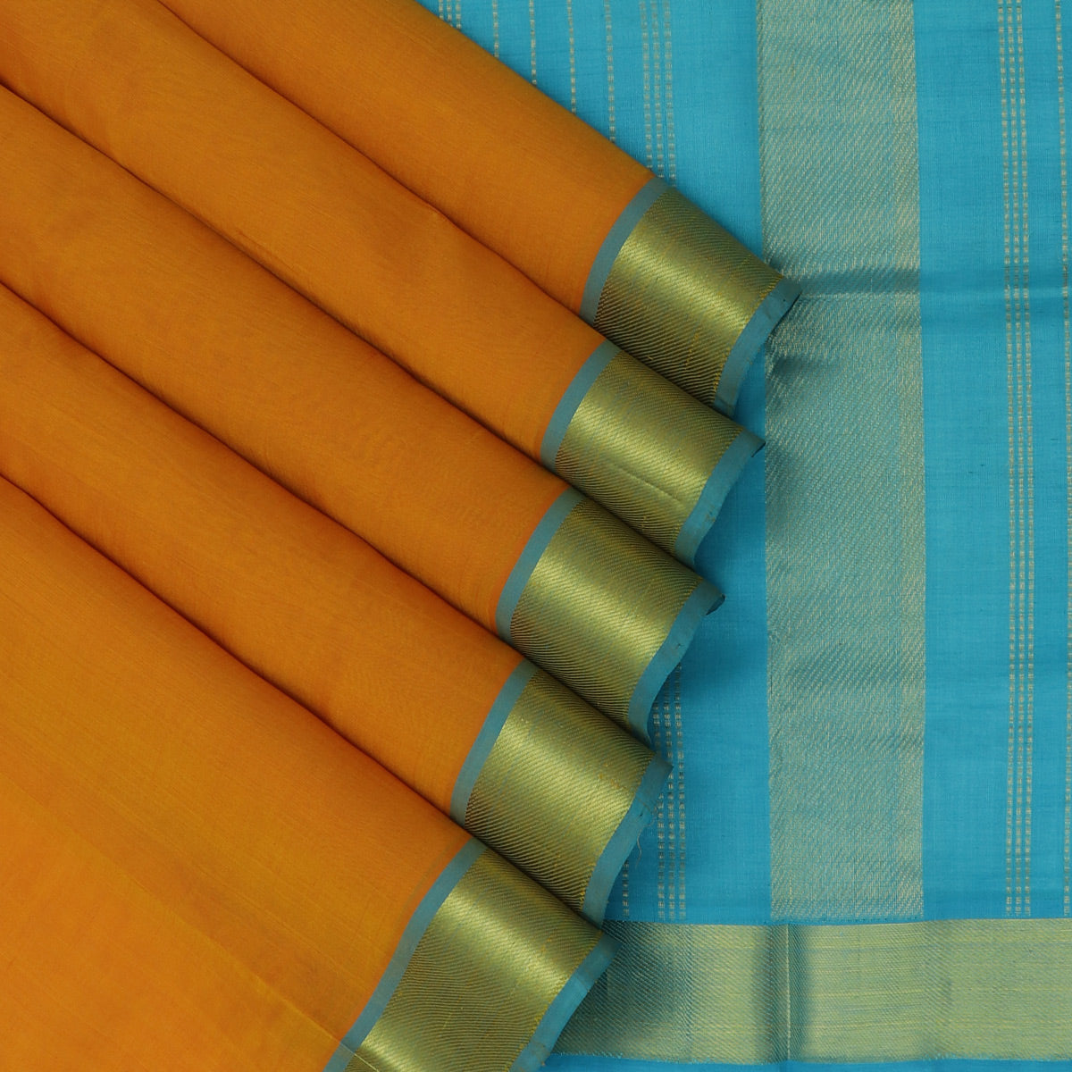 Silk Cotton Saree- Dark Honey Color and Sky Blue with Simple zari border