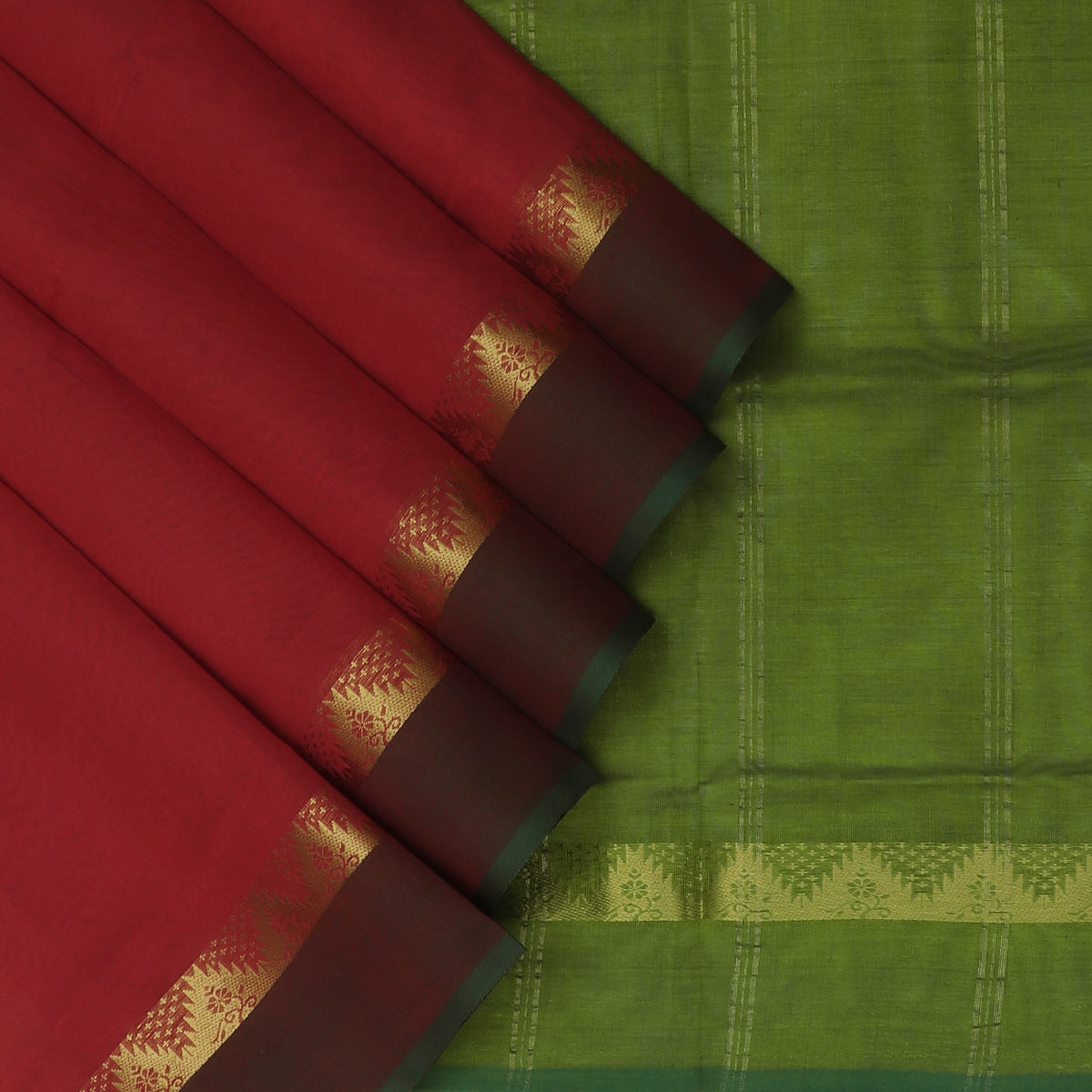 Silk Cotton Saree-Red and Mehandi Green with Temple zari border