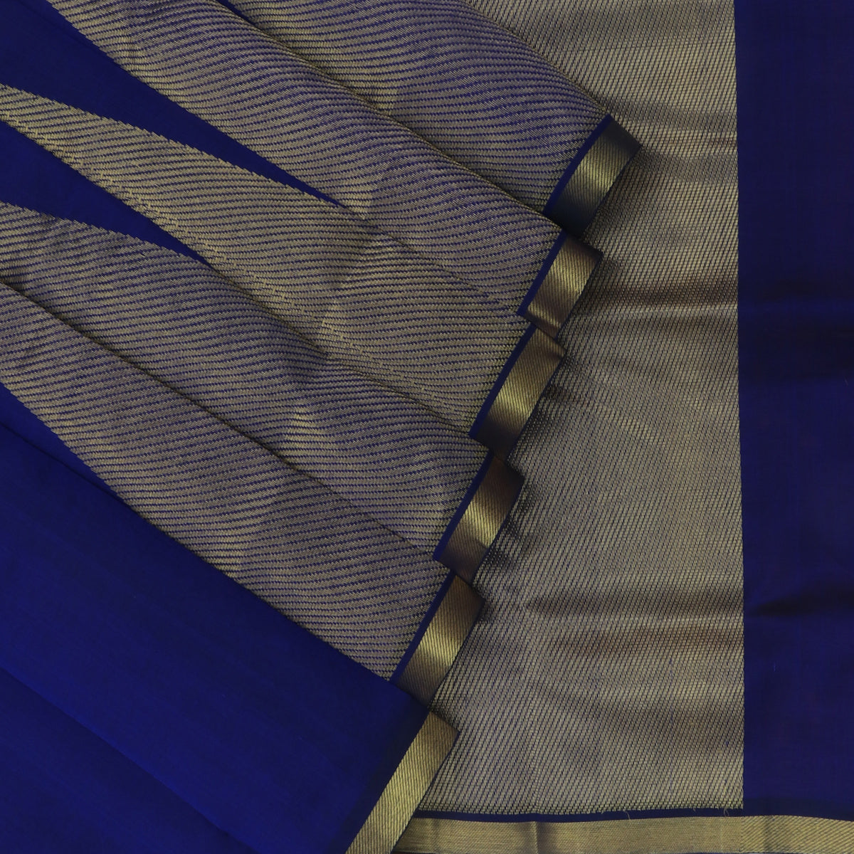 Silk Cotton Saree-Blue with Temple zari border