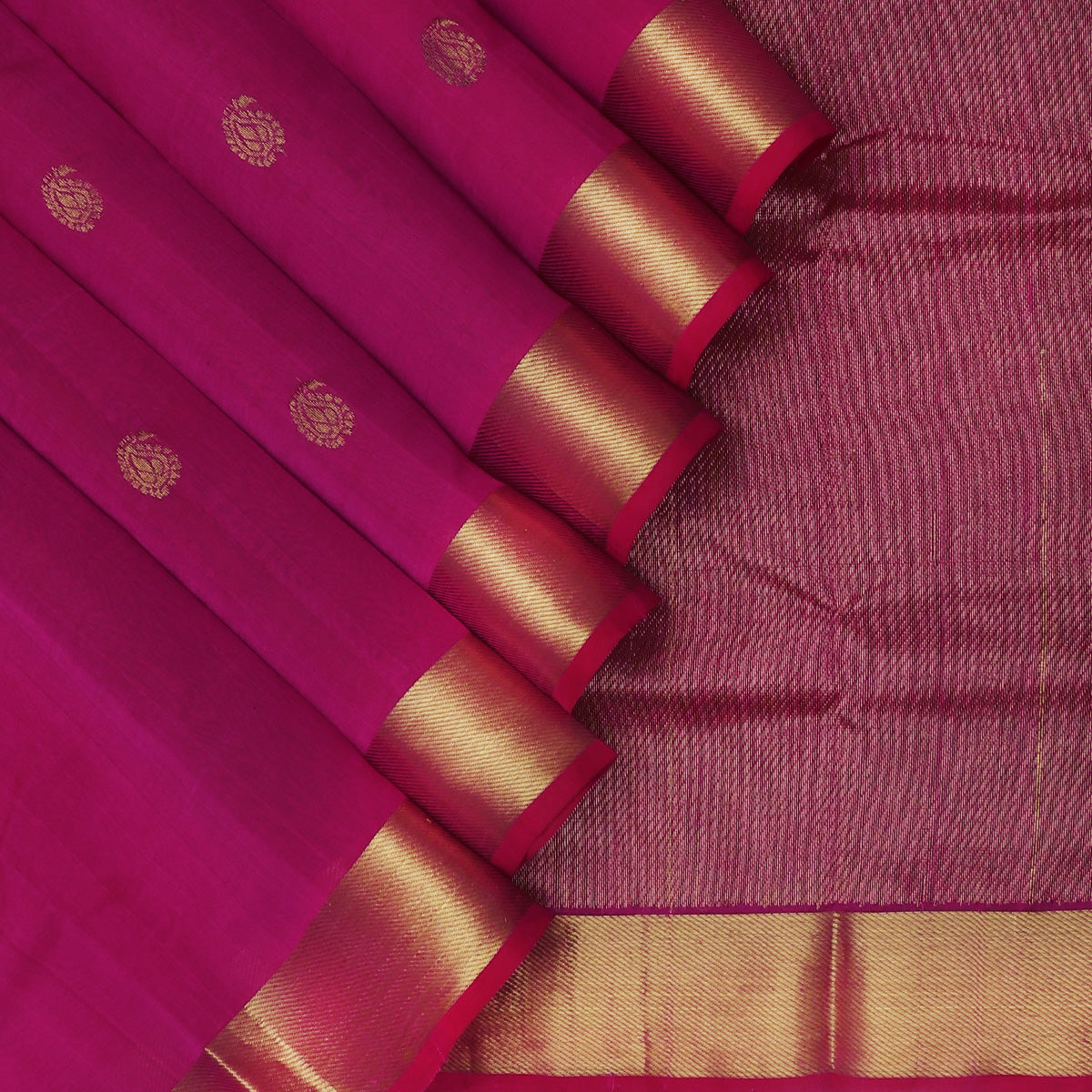 Silk Cotton Saree-Pink with Buttas Simple Zari border