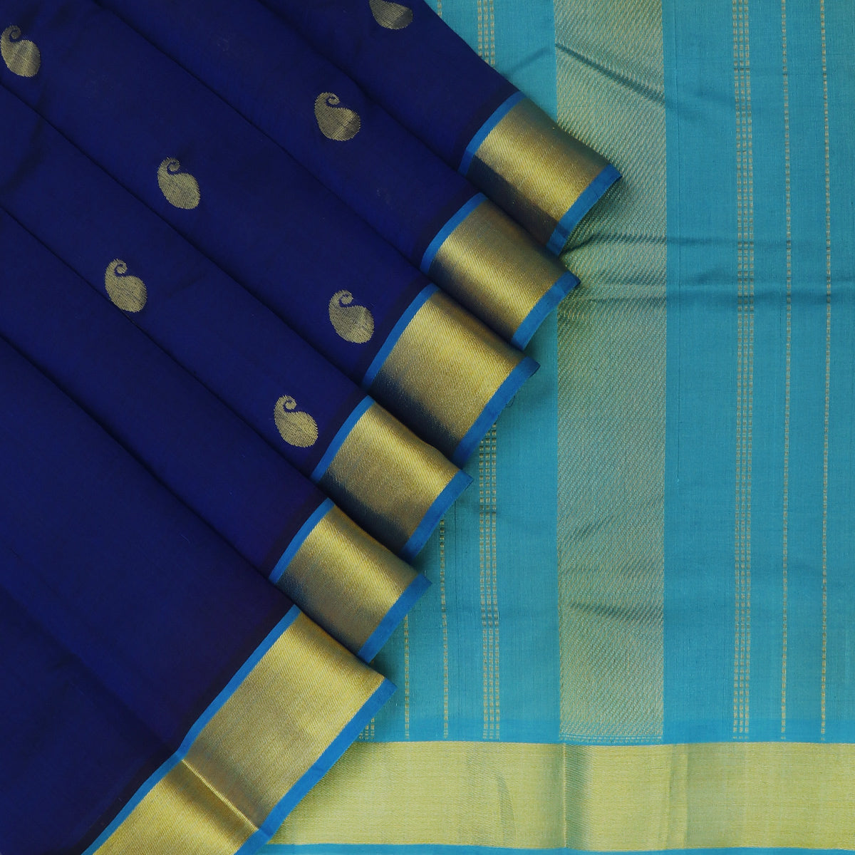 Silk Cotton Saree-Blue with Buttas and Sky blue with Simple Zari border