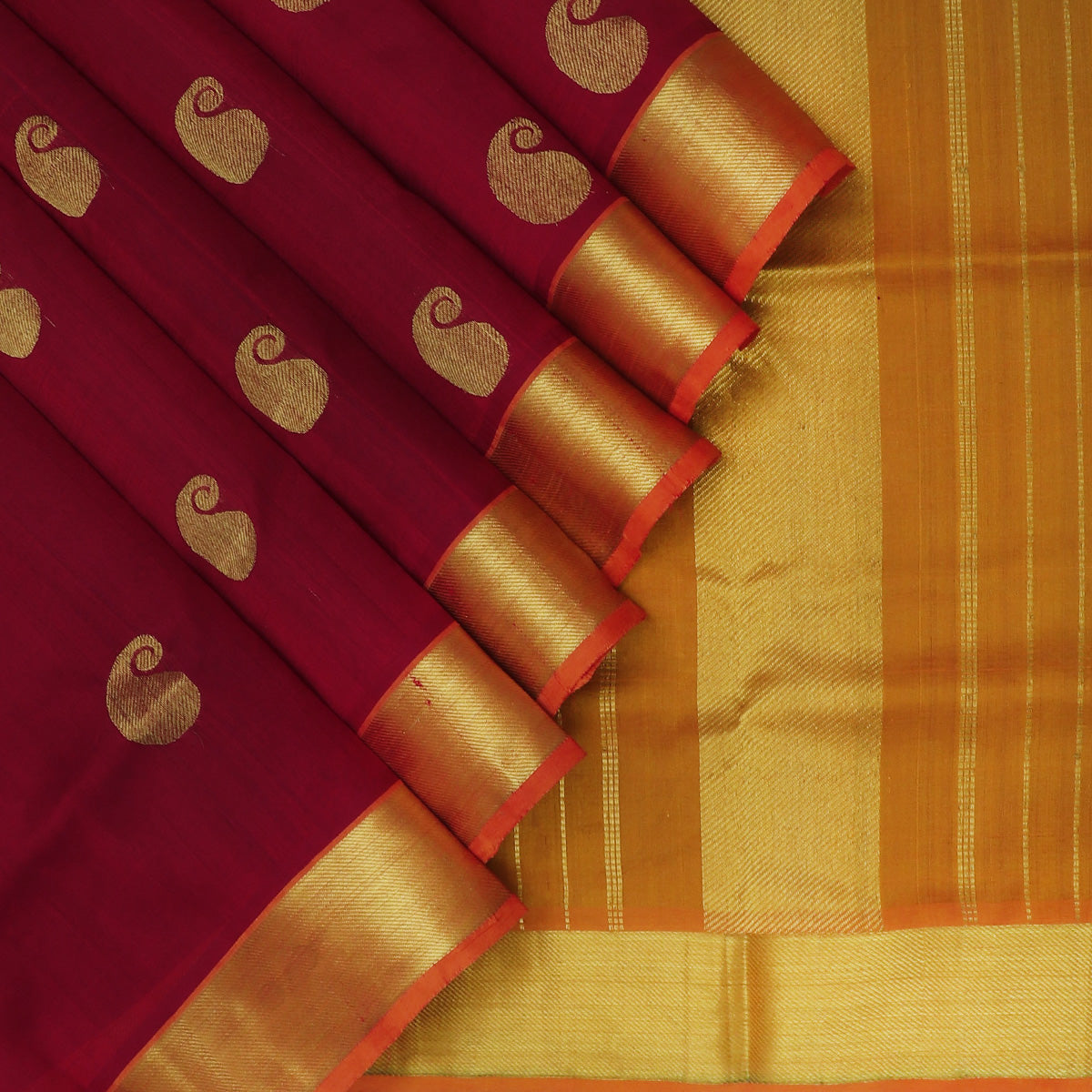 Silk Cotton Saree-Maroon with Mango Buttas and Mustard with Simple Zari border