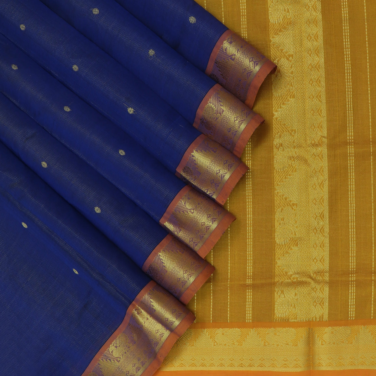 Silk Cotton Saree-Blue with buttas and Mustard with Traditional Temple zari Border Vairaosi