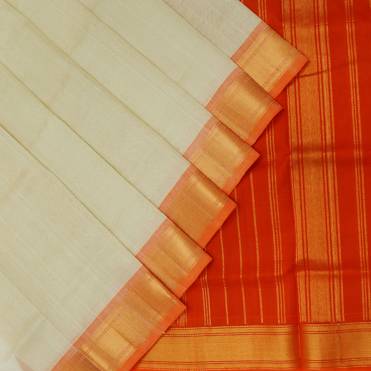 Silk Cotton Saree-Beige and Orange with simple zari border