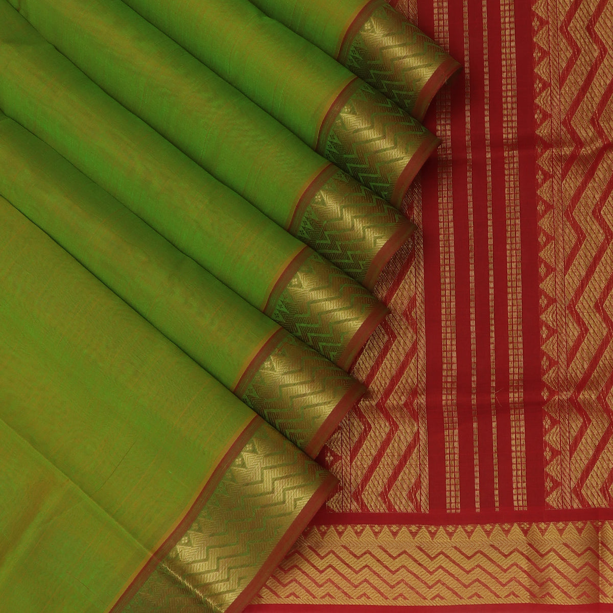 Silk Cotton Saree-Mehandi Green and Maroon with Wave zari border