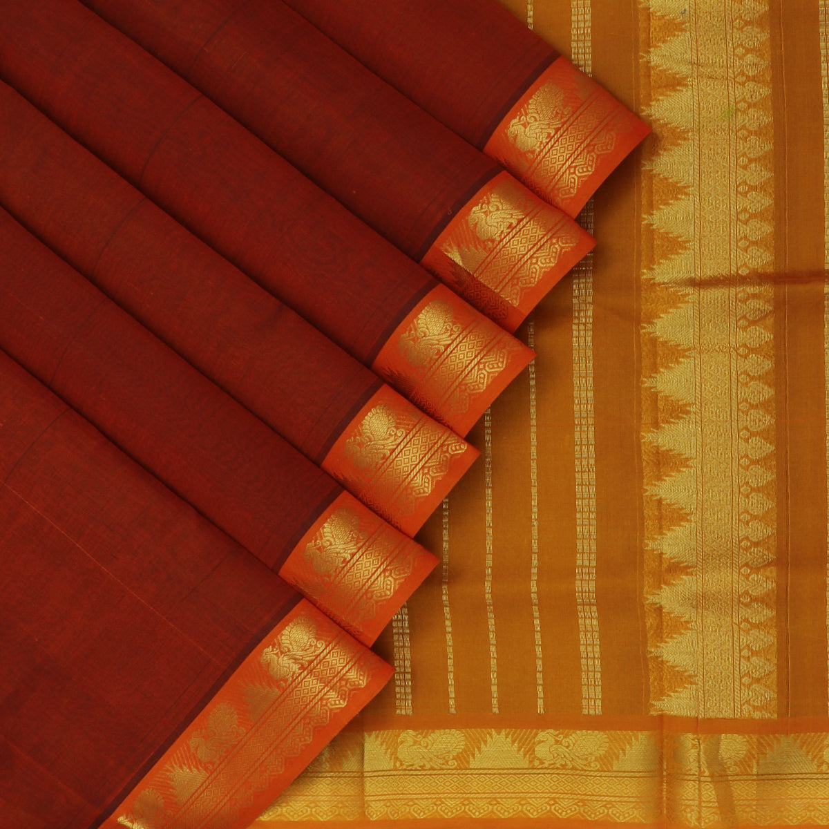 Silk Cotton Saree-Brick Orange and Honey Color with Annam zari border