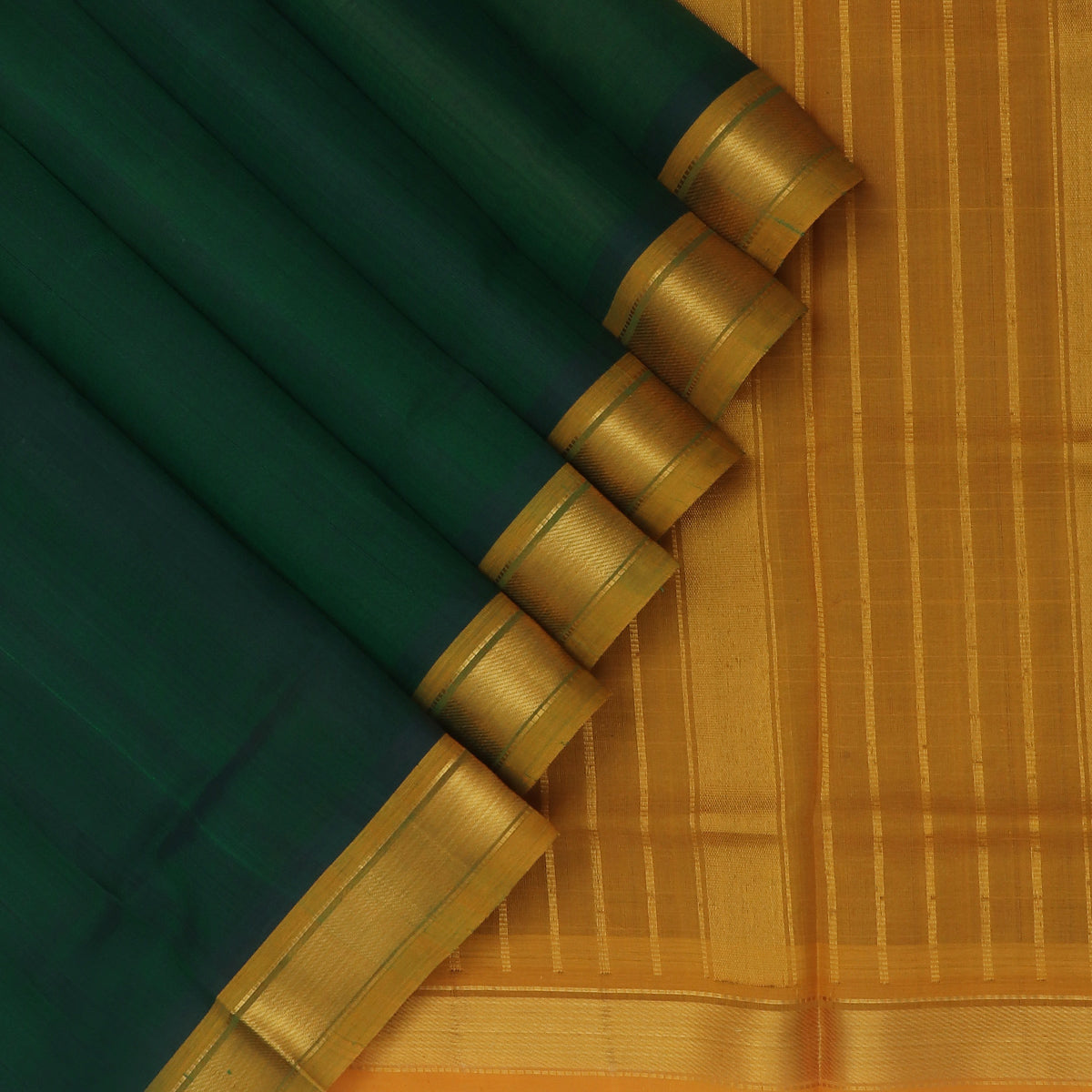 Silk Cotton Saree-Dark Green and Mustard with Simple zari border