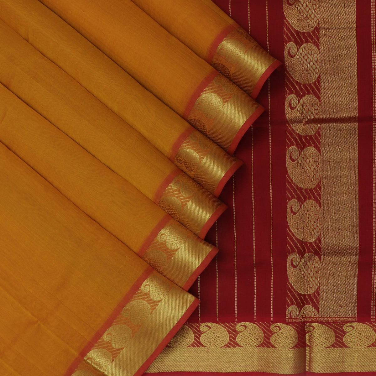 Silk Cotton Saree-Honey color and Maroon with Mango zari border