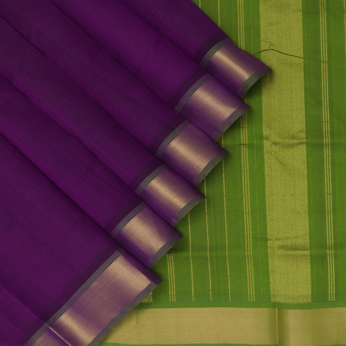 Silk Cotton Saree-Indigo blue and Mehandi Green with Simple zari border