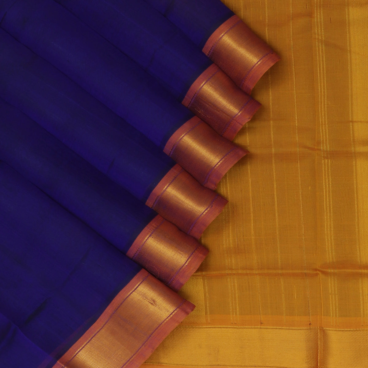 Silk Cotton Saree-Blue and Honey Color with Simple zari border
