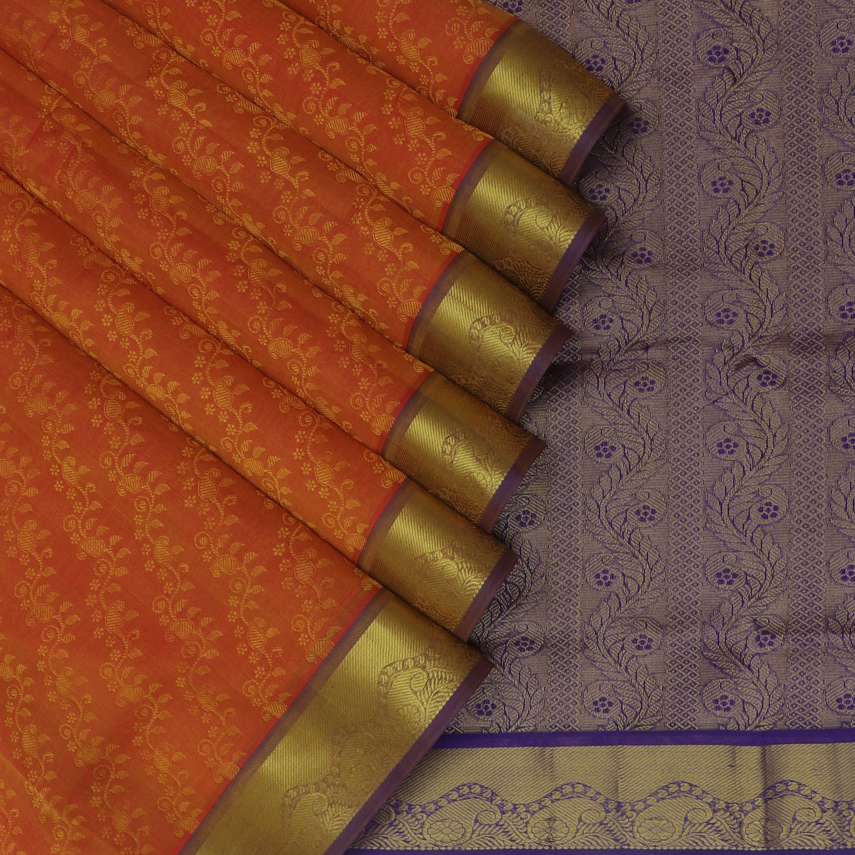 Silk Cotton Saree Brick Orange and Blue with Mango Zari border Jacquard and 9 Yards