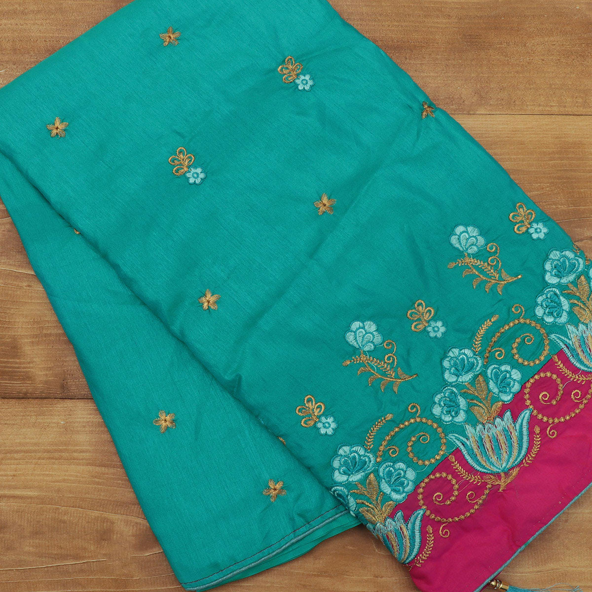Sana Silk Saree Sky blue with gold Embroidery and Pink with Flower Embroidery