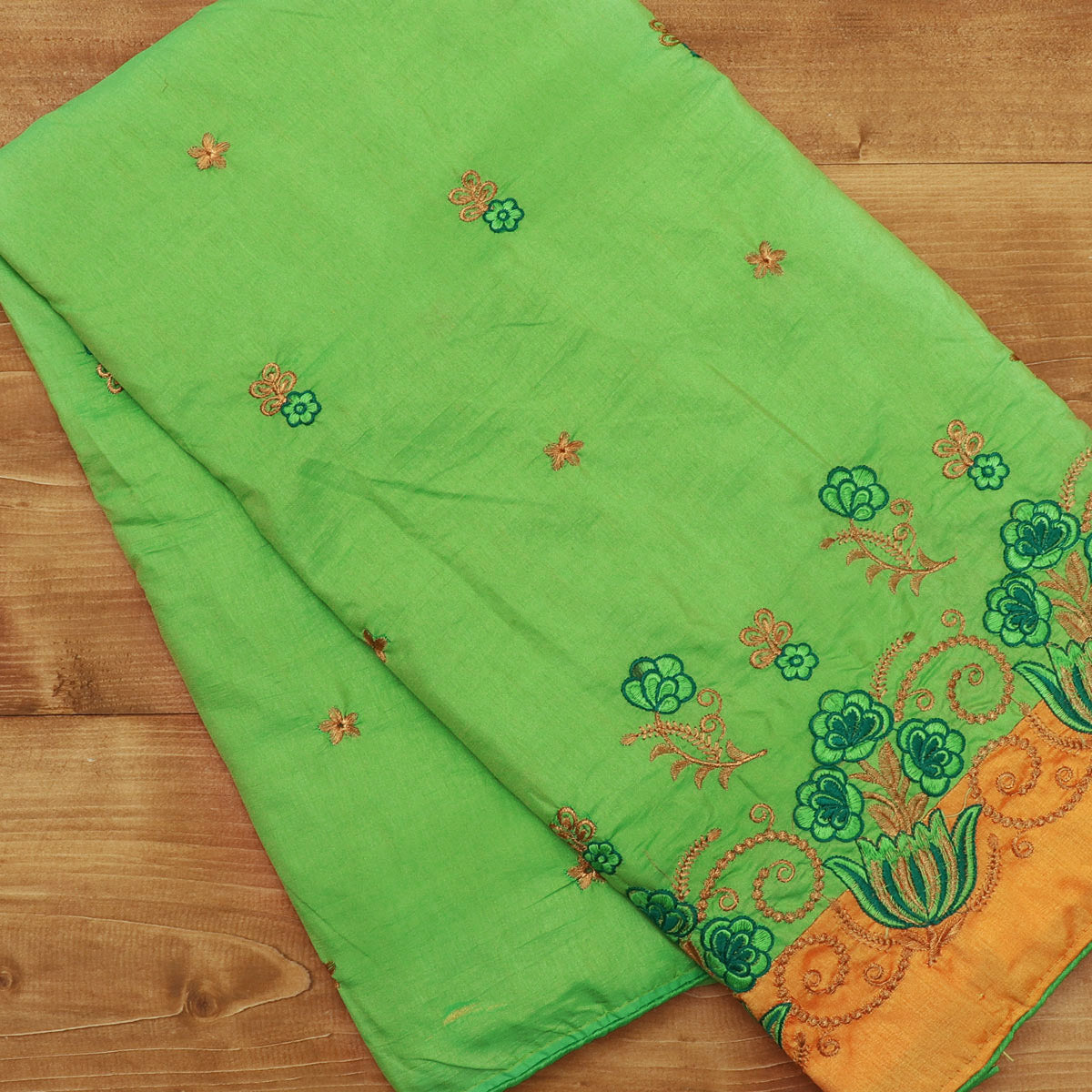 Sana Silk Saree Green with gold Embroidery and Yellow with Flower Embroidery