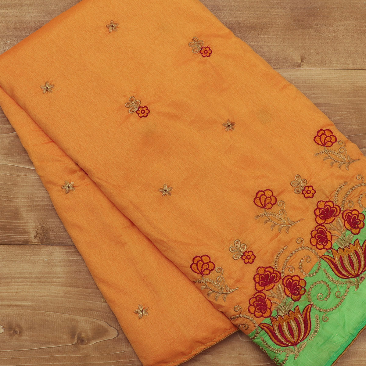 Sana Silk Saree Yellow with gold Embroidery and Green with Flower Embroidery
