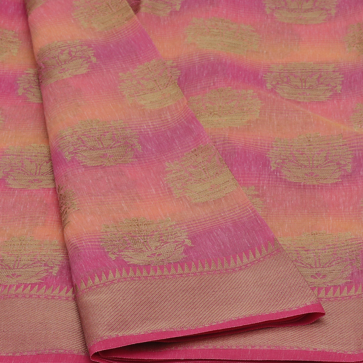 Jute Linen with Banarasi Zari Saree Peach and Pink with Temple border