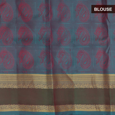 Kanjivaram SIlk Saree dark pink with woven annam and zari butta