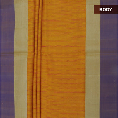 Soft Silk Saree Yellow with Thread and Blue with Zari border