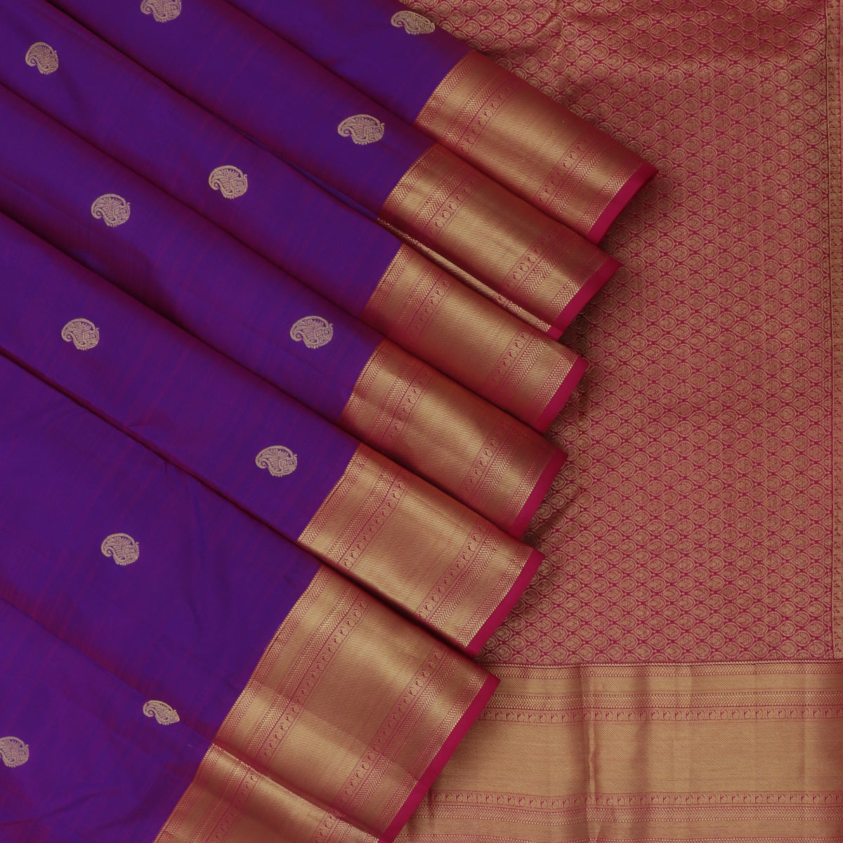 kanjivaram Silk Saree Indigo Blue with buttas and Pink with Zari Border
