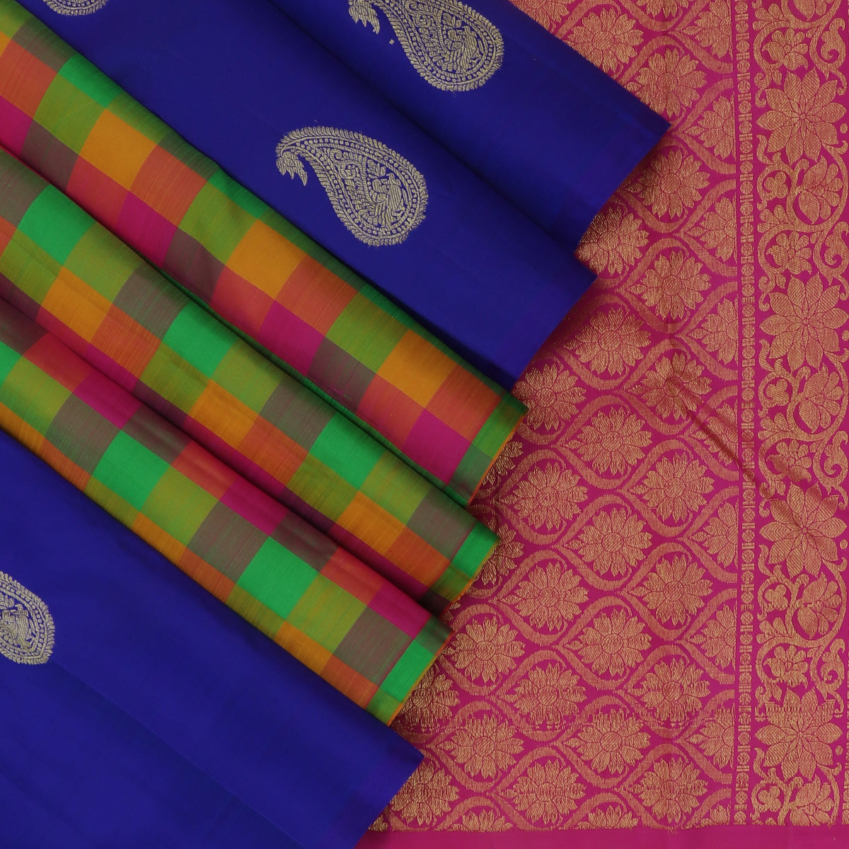 kanjivaram Silk Saree Blue and Checked Green with Yellow Partly Pallu and Mango Buttas