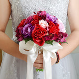 Siaoryne LP0927 Silk Wedding Bouquet Wedding Flowers Keepsake Bouquet Bridal Bouquet Coral Rose and pink hydrangea Wedding Bouquet