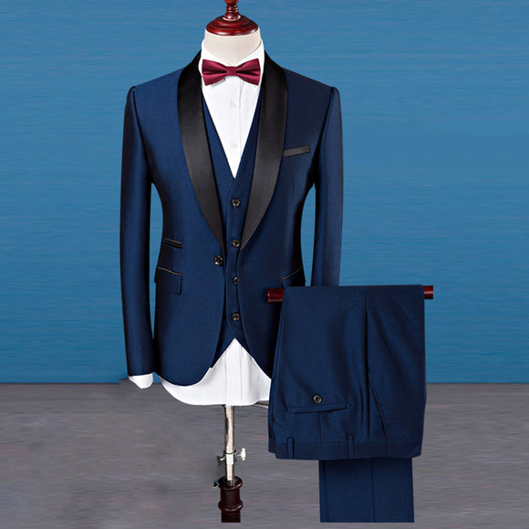 2018 Men Suits Groom Wedding Dress Tuxedos Tuxedo Slim Fit 3 Pieces(Jacket+Vest+Pant)