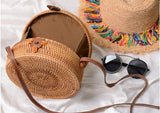 2018 New Rattan bag Round Straw Bag Handbags Women Summer Handmade Woven Beach Handbag RB210