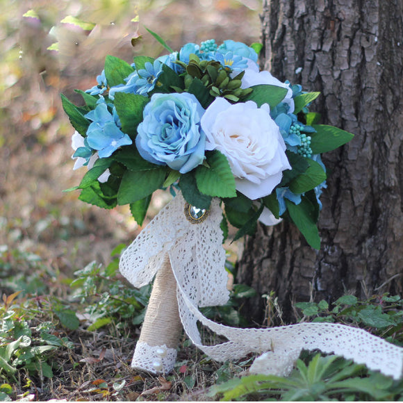 Satin Rose Bouquet Handmade Ribbon Rose Wedding flowers Lace Handle Blue Bridesmaid Bridal Bouquets