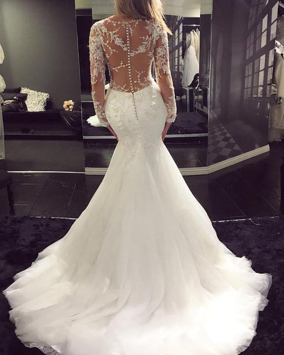 Siaoryne WD023 Long Sleeves Sexy See Through Wedding dress Mermaid Bridal Gowns Lace