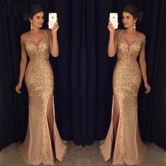 Luxury Crystal Rhinestones Prom Dresses party Evening Gowns Mermaid Sexy Style