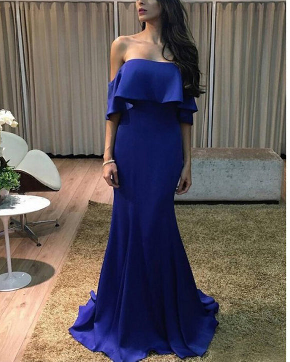 Royal Blue Strapless Prom Gown Dresses Fitted Party Evening Dress Long