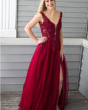 Dark Red lace Long Prom Evening Dress V neck Party Dinner Gown with Beading