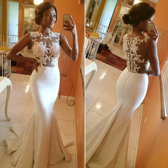 Boat Neck Sexy Mermaid Wedding Dresses Lace Appliqued Bridal Gowns