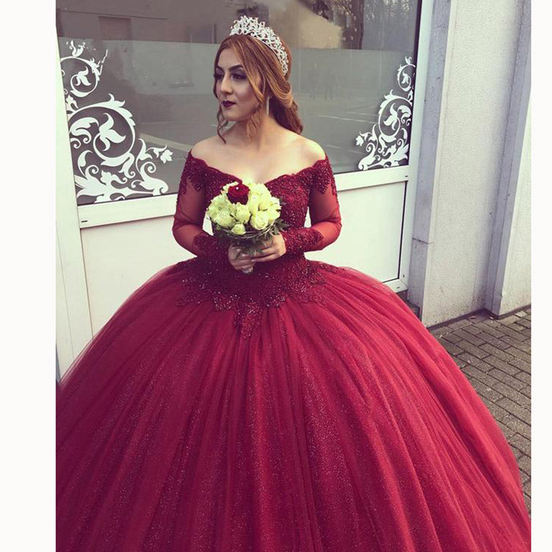 Burgundy Off The Shoulder Lace Princess Ball Gown Wedding
