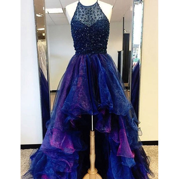 Siaoryne High Low Prom Dress Beading Blue and Fuchsia Two Tunes Evening Outfits 2018