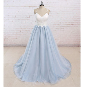 LP789 Spaghetti Straps Prom Gown Light Blue and Ivory Country Wedding Dresses